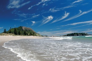 The main beach at Mt Maunganui, with Mauao in the background. Photo / Supplied