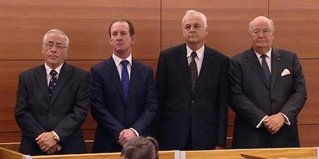 Lombard Finance directors Sir Douglas Graham, Michael Reeves, William Jeffries ( Bill Jeffreies ) and Lawrence Bryant in the High Court at Wellington. Photo / One News