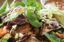 Venison stir fry salad. Photo / Doug Sherring