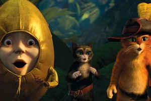 Humpty Dumpty, voiced by Zach Galifianakis, Kitty Softpaws, voiced by Salma Hayek, and Puss in Boots, voiced by Antonio Banderas, are shown in a scene from 'Puss in Boots.' Photo / AP