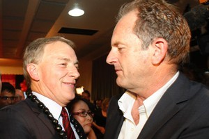 Phil Goff and David Shearer on election night. Photo / Richard Robinson