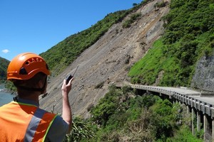 Bradley Osbourne, who has the job of watching the face of the Manawatu Gorge slip to alert his co-workers of any possible danger. Photo / Supplied