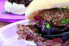 Venison burgers. Photo / Doug Sherring