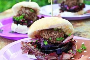 Venison burgers. Photo / Doug Sherring