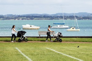 Cox's Bay Park in Westmere attracts walkers and families with its expanse of grass, playgrounds and tennis courts. Photo / Janna Dixon