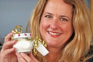 Wendyl Nissen prepares her homemade 'Rose All Natural Sunscreen' as a Christmas present. Photo / Janna Dixon