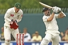 Kane Williamson of New Zealand plays a shot during day two. Photo / Getty Images