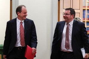 David Shearer with Grant Robertson after the caucus vote at Parliament. Photo / Mark Mitchell