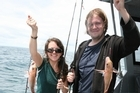 Jenny Thomas and Mihkel Zilmer boated doubles, including a blue mackerel which was turned into bait. Photo / Geoff Thomas