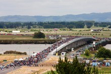 Bridgewalkers celebrate the new bridge. Photo / APN 