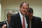 New Labour leader David Shearer and deputy leader Grant Robertson leaving with party president Moira Coatesworth after their caucus vote at Parliament, Wellington. Photo /  Mark Mitchell