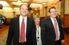 New Labour leader David Shearer, deputy leader Grant Robertson and party president Moira Coatesworth.  Photo / Mark Mitchell