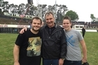 Kieran Anstis (right) and his father Kelly (centre) got to meet Jack Black at Western Springs stadium. Photo / Supplied