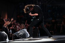 Dave Grohl of the Foo Fighters rocks Western Springs Stadium last night. Photo / Richard Robinson