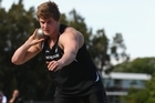 Jacko Gill warms up during the Shot Put Invitiational Series at  Sovereign Stadium. Photo / APN