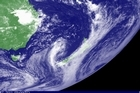 A satellite image in the Visible spectrum from the Geostationary weather satellite MSAT showing a large high to the east of New Zealand. Photo / Supplied