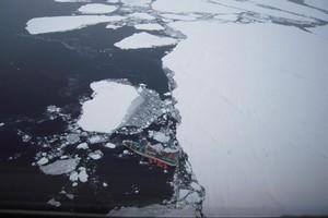Antarctic drama: Sparta - stranded 1000km north of Scott Base. Photo / USAF