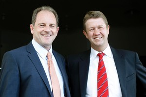 David Shearer (left) and David Cunliffe arrive for the Labour Party leadership meeting at Phoenix Hall. Photo / Christine Cornege.