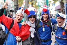 International Rugby World Cup visitors like these French tourists weren't enough to keep accommodation numbers in October from falling. Photo / Richard Robinson.
