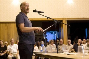 Gareth Morgan at a public meeting earlier this year. He has denied his KiwiSaver scheme is foe sale.  Listener photograph /David White.