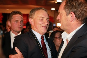 Phil Goff with new Labour leader David Shearer. Photo / Doug Sherring