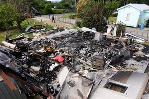 The Nuhaka house lies in ruins after Tia Ropitini lit the oven to bake a cake. Photo / APN