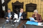 Maori Party co-leaders Pita Sharples (left) and Tariana Turia sign a confidence and supply agreement with Prime Minister John Key. Photo / SNPA