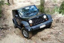 Wrangler Unlimited, with the new Pentastar V6, takes on some rough stuff at the Jeep Woodhill 4WD Adventure Park near Auckland. Photo / Phil Hanson