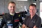 Barry Thomlinson (right) with multi-European champion Kiwi Chris van der Drift at TRS testing in Manfeild. Photo / Bruce Jenkins