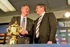 Bernard Lapasset with Rugby New Zealand CEO Martin Snedden. Photo / Dean Purcell