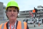 Chris Barton talks to Cera operations manager Warwick Isaacs during a visit to the red zone inside Christchurch's collapsed CBD.
