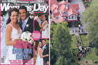 All Black Dan Carter and Honor Dillon on their wedding day (L). Wedding guests mingle on the lawn at Timara Lodge near Blenheim (R). Photos / Woman's Day, Mark Mitchell