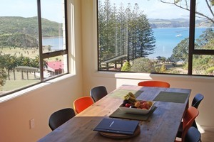 The holiday homes on Rotoroa are quirkily retro and well-equipped. Photo / Supplied