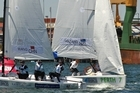 Stephanie Hazard, Jenna Hansen and Susannah Pyatt in action during the Sailing World Championships. Photo / Getty Images