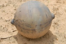 The mysterious metallic ball that fell into remote grassland in Namibia. Photo / Supplied