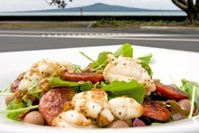 Squid with chorizo at Cafe on Kohi, Auckland. Photo / Richard Robinson
