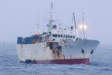 The Russian flagged fishing vessel Sparta is listing in the Ross Sea near the Antarctic Ice Shelf. Photo / Supplied