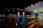 Andy Ellis (left) and Kieran Read reckon the jet-black Boeing 777-300ER will turn heads around the world. Photo / Supplied