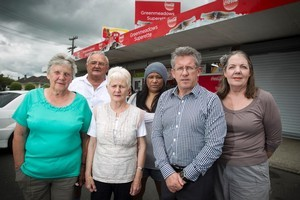 Opponents (from left) Margaret Clissold, Ray  and Ellen Daubney, Marice Konia, Phil Palfrey and Elizabeth Wipani want the superette's application declined. Photo / Natalie Slade