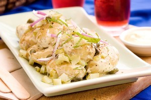 Potato salad with caper, gherkin and red onion mayo. Photo / Babiche Martens