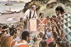 A 1964 depiction shows Samuel Marsden behing a makeshift pulpit, preaching to a group of Maori and Europeans at Rangihoua on Christmas Day 1814. Picture / Alexander Turnbull B-077-002