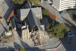 Yesterday's quake knocked out a further portion of the western wall of Christchurch Cathedral. Photo / Geoff Sloan