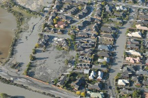 Liquefaction in the Burwood / New Brighton area of Christchurch. Photo / Geoff Sloan