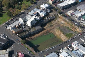 The huge hole from the abandoned Soho Square development has disfigured Ponsonby for years. Photo / Brett Phibbs