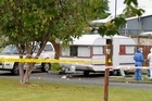 The scene at the camping grounds where a young girl was attacked in the caravan where the family was staying. Photo / Christine Cornege.
