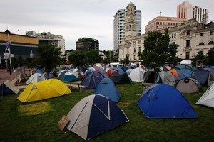 Protestors camped out and occupying Aotea Square in Auckland. Photo / Janna Dixon