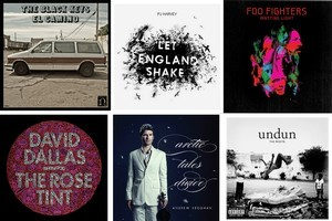 The top 6 albums of 2011 include The Black Keys, PJ Harvey, Foo Fighters, David Dallas, Andrew Keoghan and The Roots.