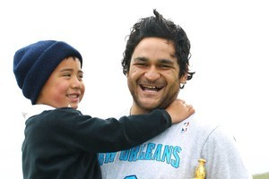 Chatham Islands local Wiremu Day-Jones got to meet Piri Weepu and see the Webb Ellis Cup up close. Photo / Getty Images