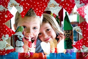 Jasper, 10,  and Greta, 7, with their Christmas puppet show. Photo / Dean Purcell