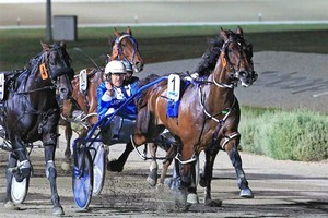 Smoken Up adds another group one feature to his lengthy list in the Victoria Cup at Melton on Saturday night. Photo / Stuart McCormick